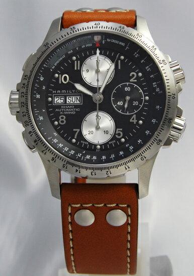 ハミルトン カーキX-ウインド SSレザーH77616533