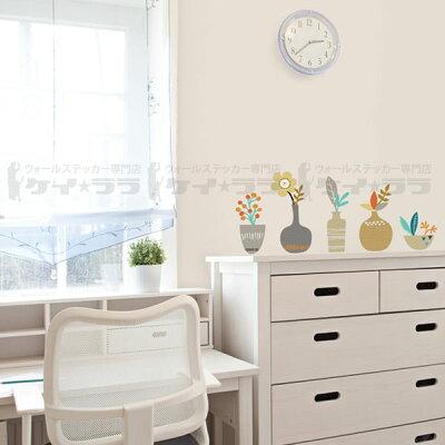 ウォールステッカー(欧米木スイッチ身長計アルファベット猫窓時計トイレ)棚の上の花瓶