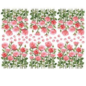 ウォールステッカー かわいい 北欧 両面印刷 バラ 花 花びら 薔薇 ローズ 窓 ガラス 玄関 ベランダ 子供部屋 リビング インテリア シール のり付き おしゃれ 壁紙シール ウォールステッカー