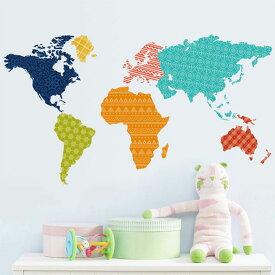 ウォールステッカー 世界地図 カラフル ワールドマップ 模様 北欧 wall sticker アジアン ハニカム模様 トイレ リビング 貼ってはがせる デコレーションシール 壁紙シール インテリアシール おしゃれ 子供部屋