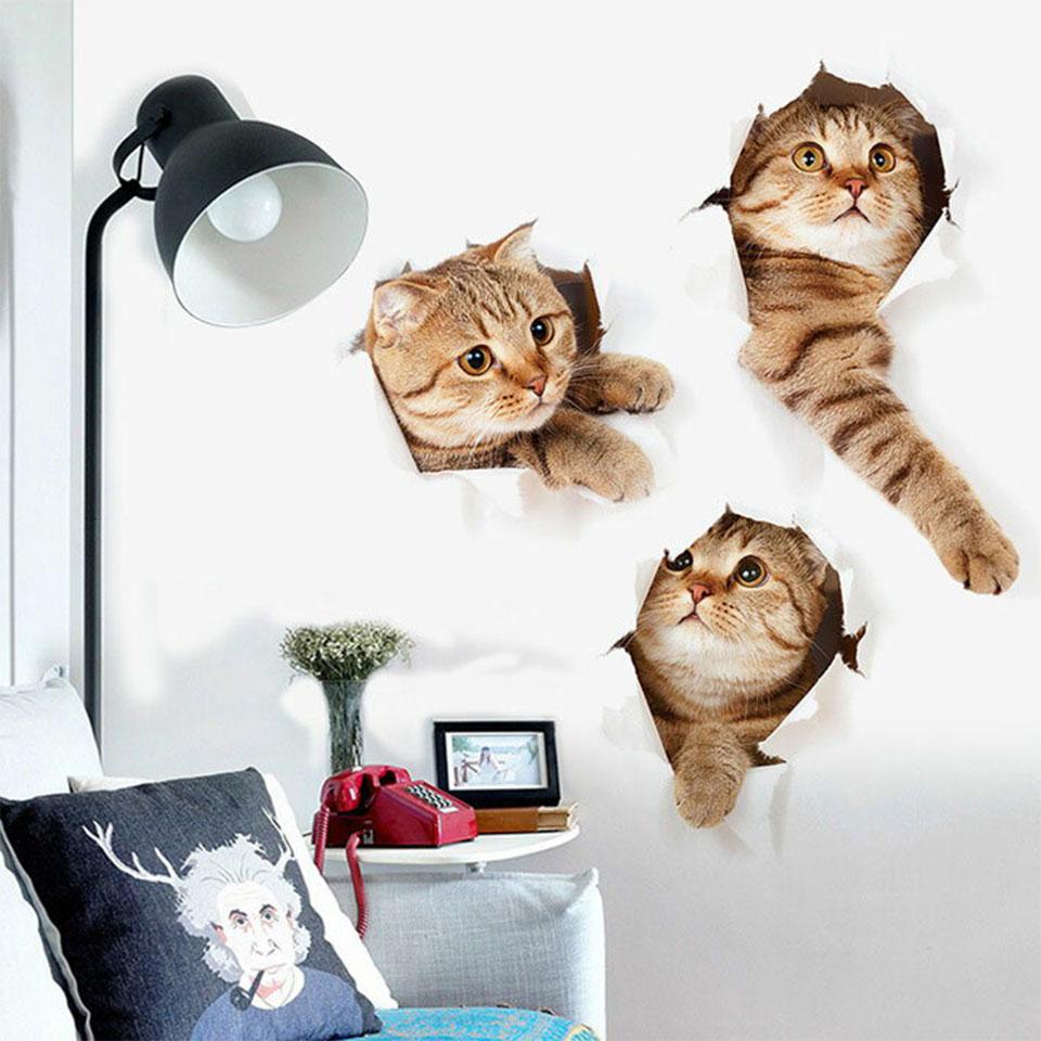 トリックアート ウォールステッカー ネコ 猫 茶色のねこ 穴から飛び出る 北欧 大人かわいい モダン かわいい wall sticker トイレ リビング 貼ってはがせる デコレーションシール 壁紙シール インテリアシール ポスター