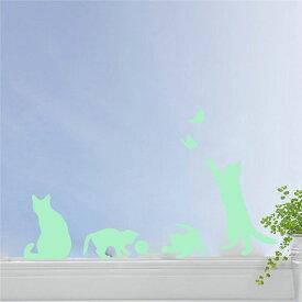 ウォールステッカー ねこ 蓄光 猫 ネコ キャット 子猫 貼ってはがせる 子供部屋 リビング インテリア シール のり付き おしゃれ 壁紙シール ウォールステッカー リメイクシート y3