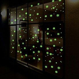 ウォールステッカー クリスマス 蓄光 雪 装飾 結晶 貼ってはがせる ステッカー 雪の結晶 北欧 かわいい 星 y1