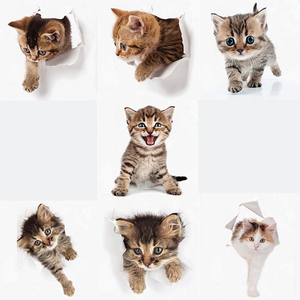 トリックアート ウォールステッカー ネコ 猫 穴から飛び出る 7枚セット 北欧 大人かわいい モダン かわいい wall sticker トイレ リビング 貼ってはがせる デコレーションシール 壁紙シール インテリアシール ポスター