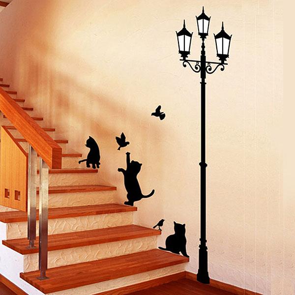 ウォールステッカー 街灯と猫 ウォールステッカー 北欧 ウォールステッカー 動物 ウォールステッカー 猫 ウォールステッカー 壁紙 ウォールステッカー トイレ ウォールステッカー植物 グリーン 動物 アニマル インテリアシート 05P05Nov16