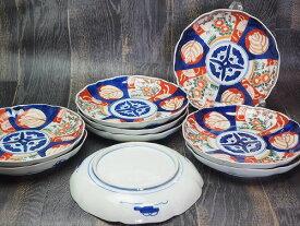 0214 花鳥文様七寸皿色絵/手描き/明治【中古】骨董・アンティーク・瀬戸物・陶磁器・食器・小鉢JAPAN*1個単位の販売です。