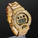 G-SHOCK カスタム dw6900 ゴールド 大粒CZダイヤベゼル 幅22mm 極太ベルト ゴールド文...