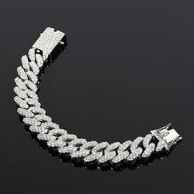 超極太 【幅18mm】マイアミキューバンブレスレット フルダイヤカスタム 18K ホワイトゴールド ギフト プレゼント 時計 メンズ レディース お祝い 誕生日