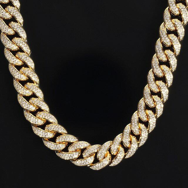 幅15mm x 50cm マイアミキューバンチェーン 14K GOLD CZダイヤ(キュービック・ジルコニア) 【ch3】