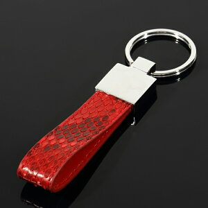 パイソン Python Skin レザー キーチェーン KEY CHAIN キーホルダー RED おしゃれ 車 カギ ギフト プレゼント クリスマス 時計 メンズ レディース お祝い 誕生日