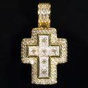 クロスペンダント バケットカット 14K GOLD 3ct おしゃれ セレブ ギフト プレゼント 時計 メンズ レディース お祝い …