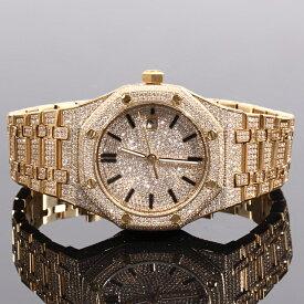 ジュエリーウォッチ ラグジュアリー 腕時計 全面フルCZダイヤ(キュービックジルコニア) メンズ BLING CZ Diamond Watch 12ct セレブ腕時計 18K GOLD 自動巻き プレゼント クリスマス【保証付】※動画あり