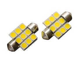 T10×31 LED ホワイト 5050SMD×9連 6500K 広角 120° 12V 2個 ルームランプ ナンバー灯 ラゲッジ カーテシ 等に バルブ 白 _25207