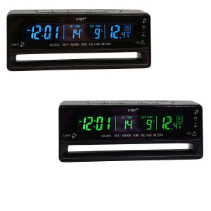 デジタル 電圧計 ボルトメーター 時計 LED表示 温度計 シガー電源 12V 温度 外気 バッテリーチェック 車内 デジタル オルタネーター 電装品 アクセサリー _28417