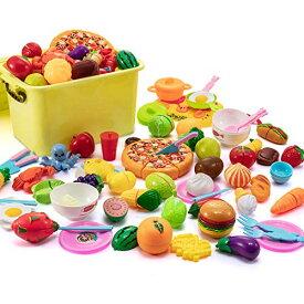 Shinymi おままごとセット 全68点 ごっこ遊び 海鮮 果物 野菜 食器 収納ボックス付き キッチン おもちゃ 子供 女の子 男の子 誕生日