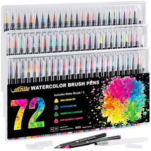 VACNITE 水彩毛筆 カラー筆ペン 72色セット 水性筆ペン 水彩ペン 絵描き 塗り絵 アートマーカー 美術用 事務用 画材 子供用画材 収納