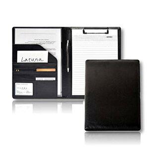 [Latuna] バインダー クリップボード A4 革 高級感 クリップ ファイル 二つ折り 多機能 ペンホルダー ポケット付き 名刺入れ ギフト