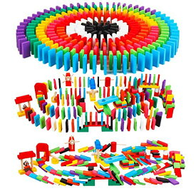 ドミノ 倒し セット(240個 + ピタゴラ ギミック 24種) 日本語説明書・収納袋付き 木製 カラフル Bajoy 大人も子供も楽しめる おもち