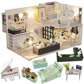 CuteBee DIY木製ドールハウス、Happy Time、手作りキットセット、ミニチュアコレクション、LEDライト(電池AAA*2必要)、オルゴール、