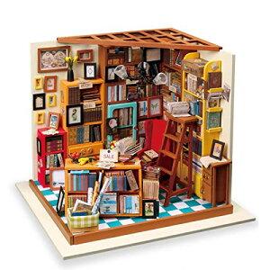 ROBOTIME DIY ドールハウス 本で山積みのサムの本屋さん/SAMS STUDY 朝と夜 手作りキット オモチャ 知育玩具 男の子 女の子 大人 入
