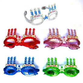 ハッピーバースデーメガネ 3パターンの光り[ハッピーバースデーミュージックグラス]誕生日会誕生日パーティに(レッド・ブルー・ピンク・クリア)