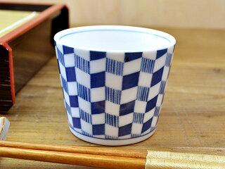藍common菱市松そば猪口[そばちょこ小鉢薄い軽い白磁]
