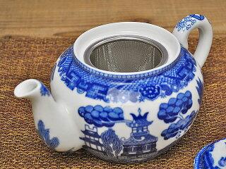 山水ティーポット600ccステンレス茶こし付き[急須][アウトレット][訳あり特価品][陶器]