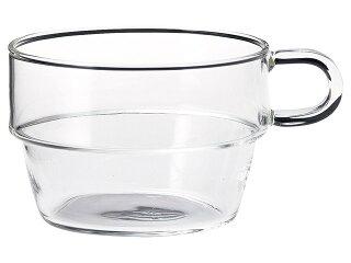 耐熱ガラススタッキング片手スープ[重ね置きマグカップ軽い軽量アイスホットガラス食器]
