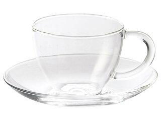 耐熱ガラス150mlカップ&ソーサー[コーヒーカップ軽い軽量ガラス食器]