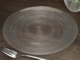 細いラインがお洒落なガラス食器イマージュクープ皿27.5cm[プレート/丸皿/大皿]