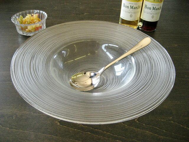 細溝ラインがお洒落なガラス食器イマージュ リムスープボウル 25.5cm[ ボール ]