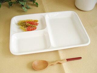 3つ仕切りスクエアランチプレート23cm[軽い白い仕切り皿四角角型陶器3仕切りカフェ食器子供食器新生活]