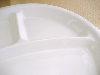 3つ仕切りラウンドランチプレート25cm[軽い3仕切り白い食器仕切り皿丸型陶器カフェ食器新生活]