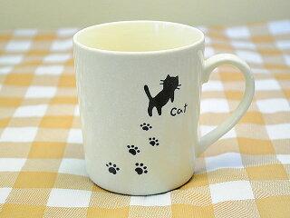軽い食器軽量目盛り付きマグカップ足あとネコ[コップ猫柄計量]