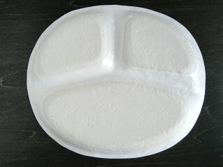 和モダンランチプレート白[カフェ食器/仕切り/陶器]
