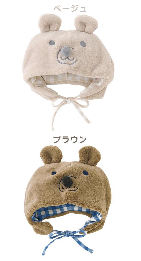 ボンシュシュ*Bonchouchou くまさんボア 新生児ベビー帽子 くまみみ 46-48cm 48cm-50cm