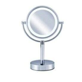 (アウトレット)小泉 丸型LED拡大鏡(両面卓上)5倍/14.5cm KBE-3010-S シルバー