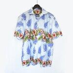 ハイビスカス柄淡いブルーのアロハシャツハワイアンシャツLLサイズ/スカイ/水色/安い/大きいサイズ/半袖/綿生地/サマー/リゾート/ファッション/メンズ/レディース/男女兼用/ゆったり/南国/夏物/メール便OK/激安/格安