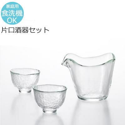 【日本製】 津軽びいどろ じょうぶな 耐熱ガラス 片口 酒器セット クリア FS-71515