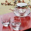【日本製】 ハンドメイド 冷酒の器 盃2個と 耐熱ガラス 地炉利 の冷酒器セット 東洋佐々木 G604-M74