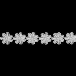 ケミカルレース生地 花 モチーフ オフホワイト 切り売り綿糸 オフ白 約13mm幅国内生産なので安心ベビー 子供服 婦人衣料 手芸ブライダル インテリア 和装小物 御朱印帳にも