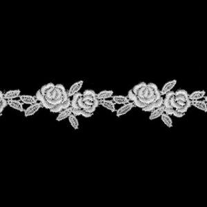 ケミカルレース生地 マスク 花 モチーフ オフホワイト 切り売りオフ白 約20mm幅、御朱印帳にも