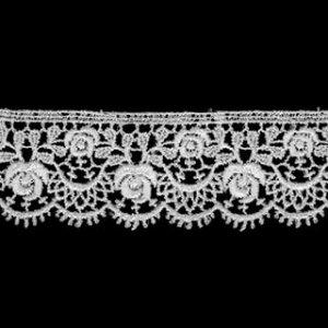 ケミカルレース生地 マスク 花 モチーフ オフホワイト オフ白 切り売りオフ白 約28mm幅 御朱印帳にも