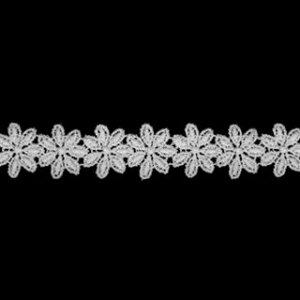 ケミカルレース生地 マスク 花 モチーフ オフホワイト オフ白 切り売りオフ白 約15mm幅、御朱印帳にも