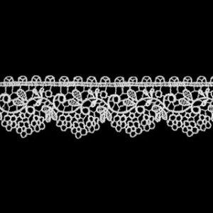 ケミカルレース生地 花 モチーフ オフホワイト切り売り オフ白 約22mm幅細番手のレース糸を使用した最高級ケミカルレースです、御朱印帳にも