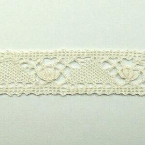 手編みレース 竹繊維 切り売りオフホワイト 約25mm幅、御朱印帳にも