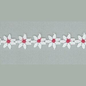 ケミカルレース生地 切り売りカラー赤色/ホワイト 約12mm幅、マスク 御朱印帳にも