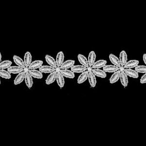 ケミカルレース生地 花 モチーフ オフホワイト 切り売りオフ白 約21mm幅カットしてモチーフにも使えます、マスク 御朱印帳にも