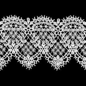 ケミカルレース生地 マスク 花 モチーフ オフホワイト オフ白 切り売りオフ白 約50mm幅細番手のレース糸を使用した最高級ケミカルレースです 御朱印帳にも