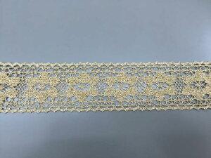 トーションレース メタリックゴールド 切り売り 約48mm幅手芸、インテリアに最適、御朱印帳にも